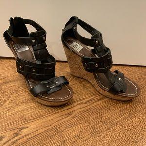 Dolce Vita Black Wedge Sandals